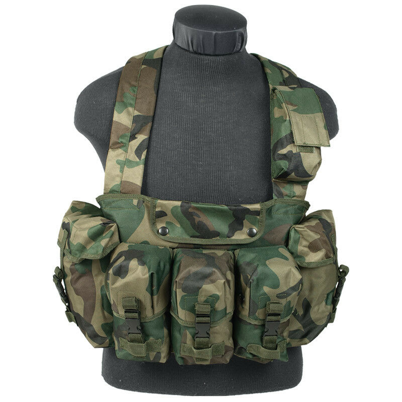 MILITARY TACTICAL CHEST RIG CARRY VEST MAGAZINE POUCHES COMBAT WOODLAND CAMO