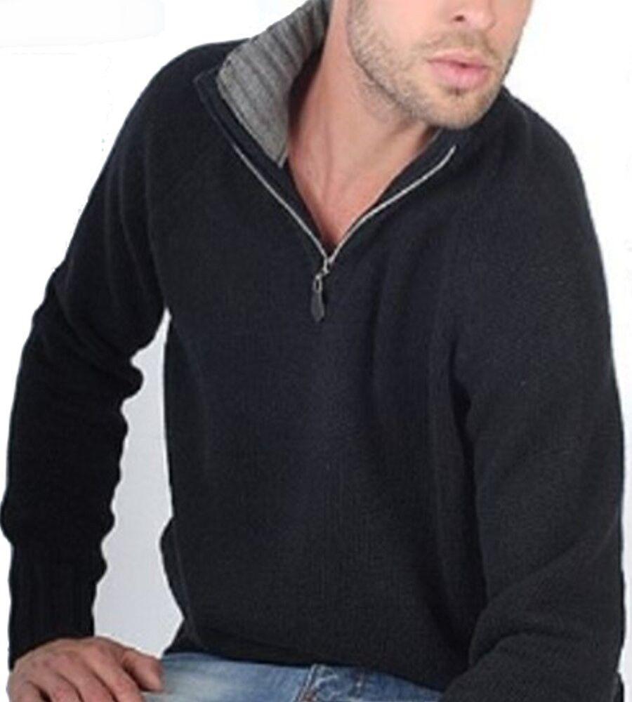 Balldiri 100% Cashmere Troyer 8-fädig mit Kontrastkragen schwarz- grau L