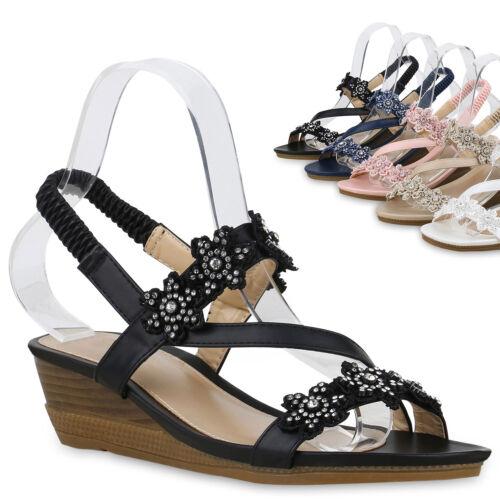 Damen Keilsandaletten Strass Sandaletten Keilabsatz Schuhe Blumen 830083 Trendy