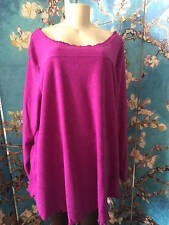 ROAMAN'S PLUS 3X NEW MAUVE SHERPA CREW NECK RUFFLE TRIM LONG SLEEVE TUNIC TOP