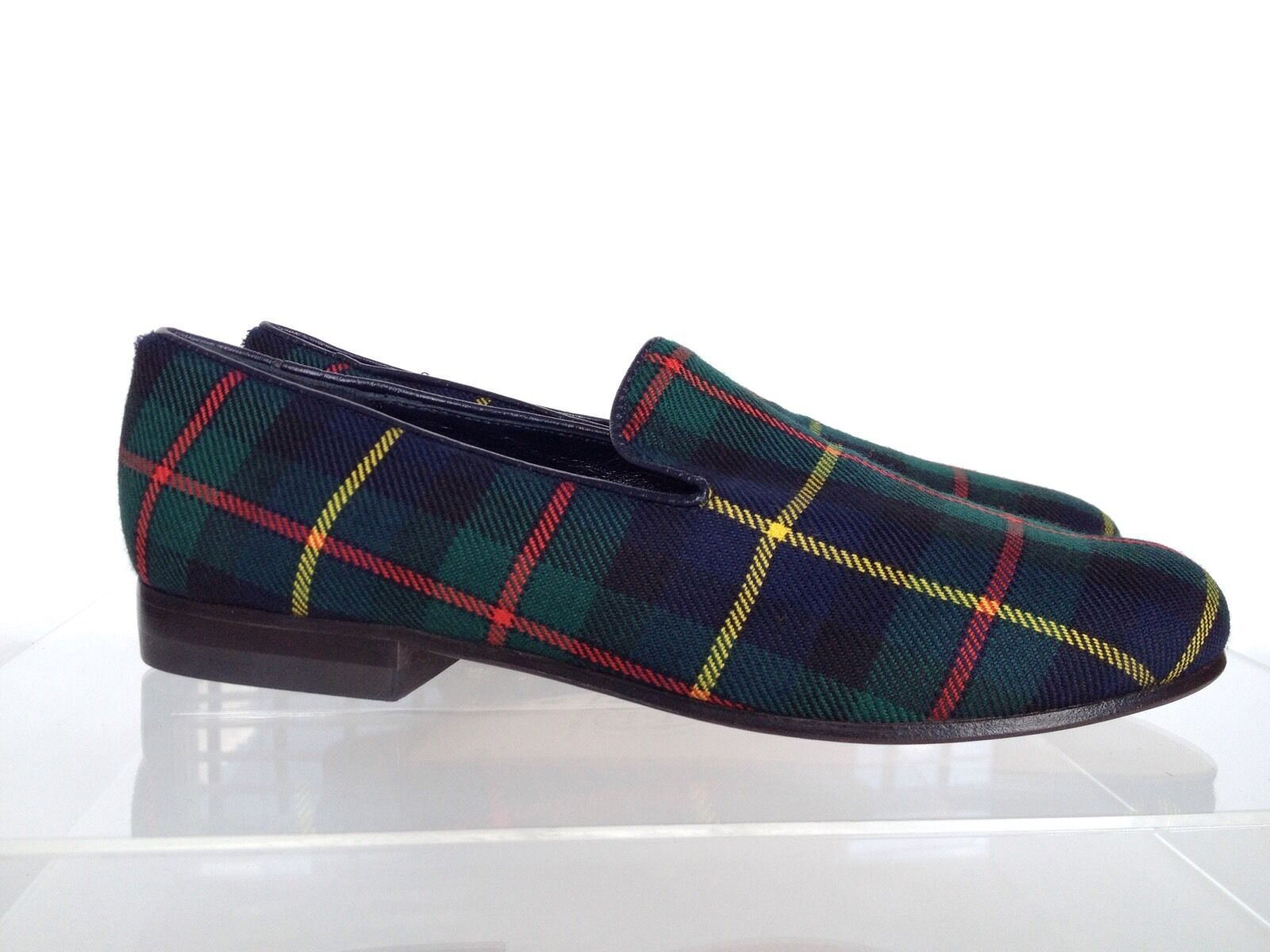 CECILIA BRINGHELI Tartan Wool Loafers Slip on 6.5 US 36.5 EU Green Blue $465