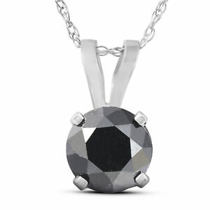 1 Carat Heat Treated Black Diamond Solitaire Pendant Necklace In White Gold