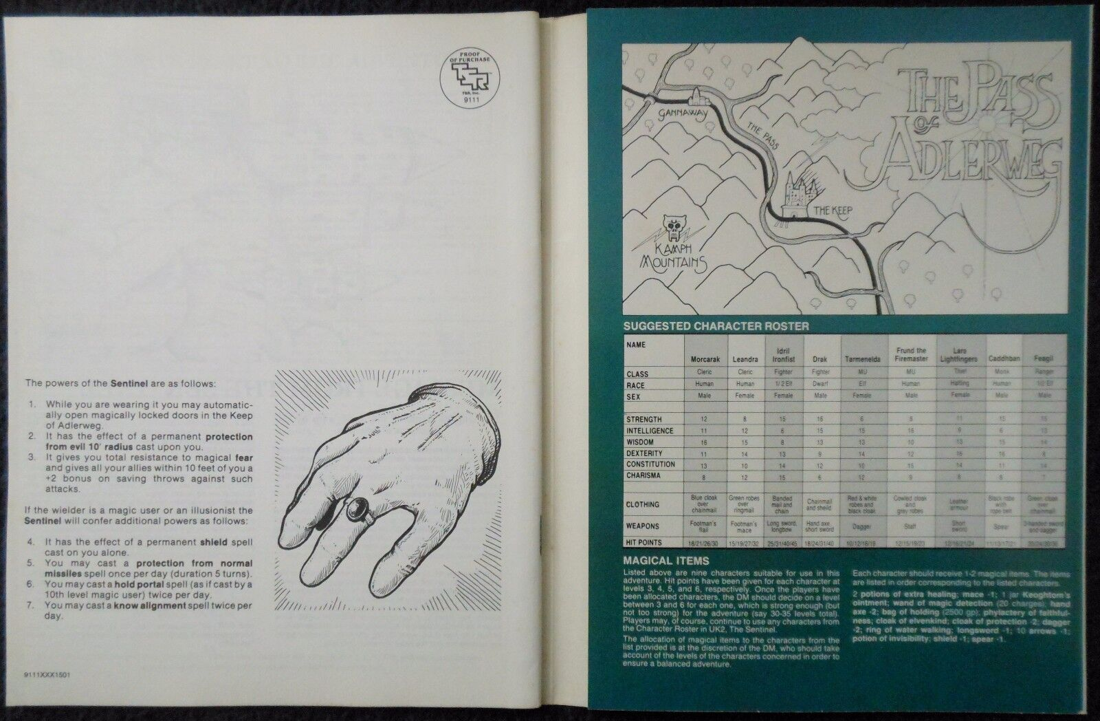 UK3 le gant gant gant advanced dungeons & dragons adventure module d&d rpg game 9111 adda2f