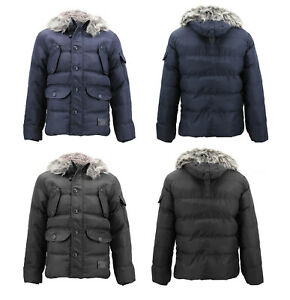 Men-039-s-Winter-Padded-Puffer-Jacket-Faux-Fur-Trim-Heavy-Weight-Sherpa-Lined-Coat