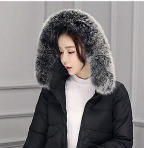 Real-Black-amp-White-Fox-Fur-Collar-Fur-Hood-Trimming-Scarf-80-12cm-31-5X4-7-034-US
