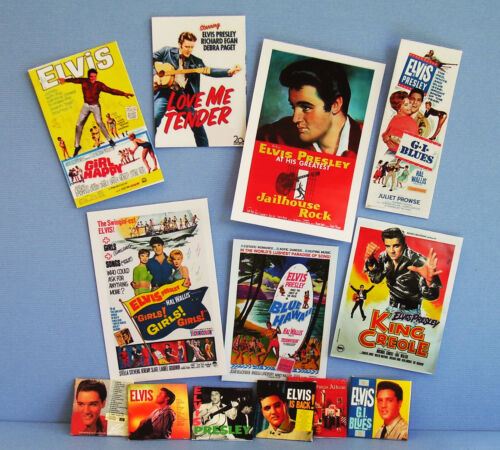 Dollhouse Miniature 1:12 Elvis Presley  6 Album covers and 7 Posters 1950s 1960s