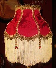 """MADAME BELLA un Vittoriano Stile Perline lampshade. PROFONDO ROSSO DAMASCATO. 12 """""""