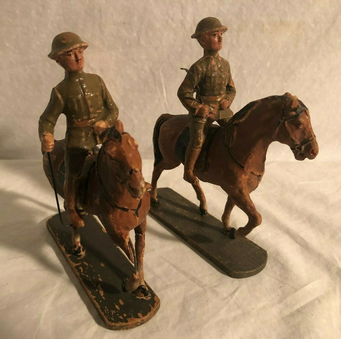 Elastolin Hausser Large Size 10cm Soldier Lot Horses Riders Germany Pre War
