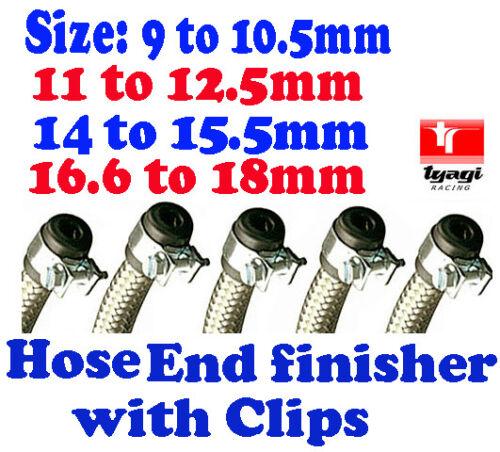 Acier inoxydable tressé tuyau carburant clips de finition caoutchouc embout et clips