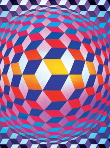 1973 VASARELY 850 PCS CEACO JIGSAW PUZZLE MODERN ART GLOBE WITH SPHERES