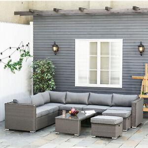 Outsunny 6PC PE Rattan Corner Sofa Set Outdoor Conservatory Furniture w/ Cushion