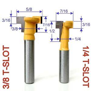 """2 pc 1/4"""" SH T-Slot Slotting For 1/4 Hex Bolt & 3/8"""" Hex Bolt Router Bit G"""