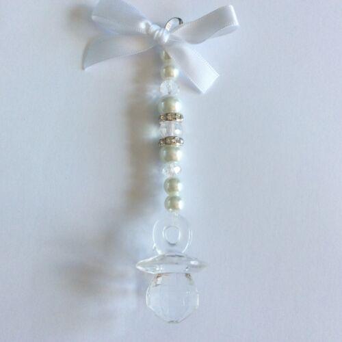 Personalised hand made baby white dummy pram charm girl//boy keepsake //gift