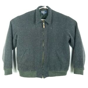 Polo-Ralph-Lauren-Mens-Size-Large-Jacket-WOOL-Full-Zip-Gray-Green-Interior-Pony