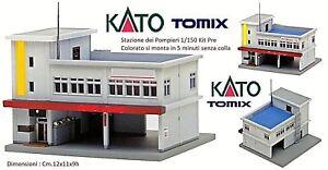 KATO-by-TOMIX-STATION-dei-POMPIERS-B2-avec-GARAGES-de-bureaux-CAMION-ANTENNE
