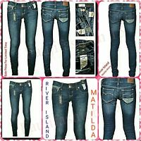 Ex River Island Dark wash Matilda Skinny Low Rise Ladies Jeans New Cut 60%OFF