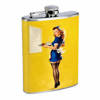Flask 8oz Stainless Steel Classic Vintage Model Pin Up Girl Design-082