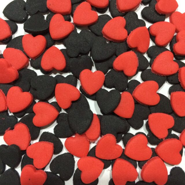 Edible Sugar Love Hearts Cake Toppers Red & Black X 100