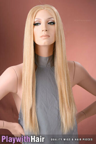 SUPER LONG! Mono Top Human Hair Wig Brown Blonde Frost