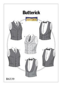 Image is loading B6339-Butterick-6339-Sewing-Pattern-Costume-Men-039-  sc 1 st  eBay & B6339 Butterick 6339 Sewing Pattern Costume Menu0027s Vests Historical ...