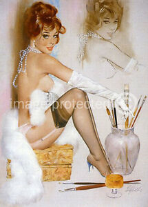 Lingerie With Paints Fritz Willis Classic Pin Up Girl Art Vintage