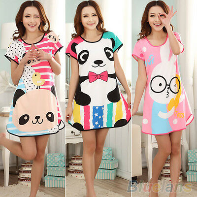 KAWAII WOMENS COTTON BLENDED CARTOON SLEEPWEAR PAJAMAS SHORT SLEEVE SLEEPSHIRT