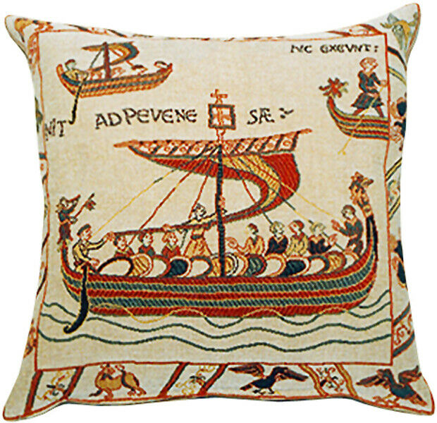 Les Normands French Bayeux Boat Woven Decorative Tapestry Cushion Cover