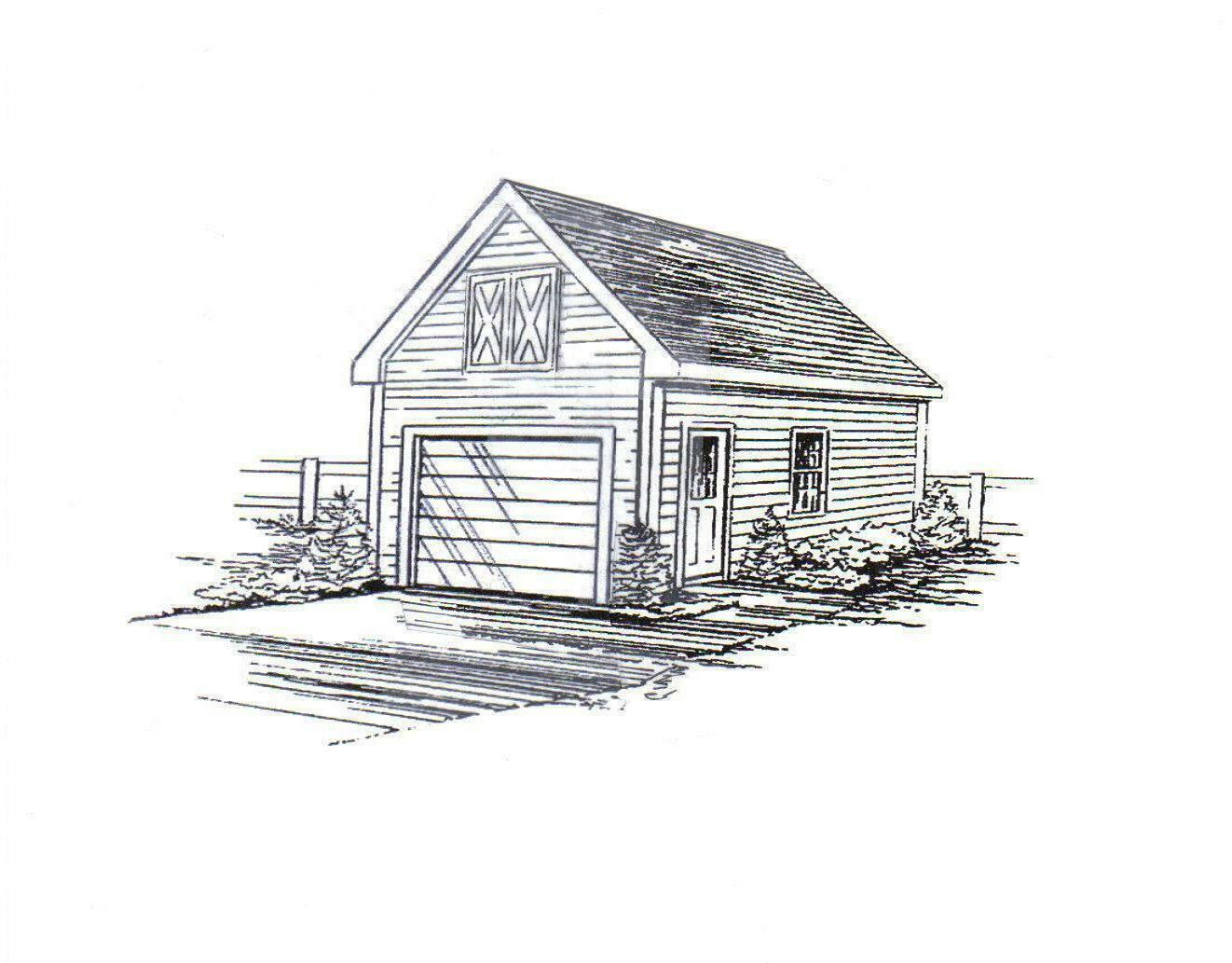 13x24 Mini Garage   Yard Shed Building Blauprint Plans