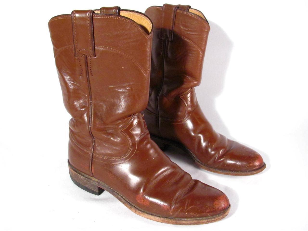 Vintage Justin Cowboy Boot Women size 6.5 M Tan leather