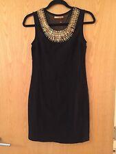 Black Dress Gold Statement Necklace Mini Spikes Sleeveless Short Tight Sheer M