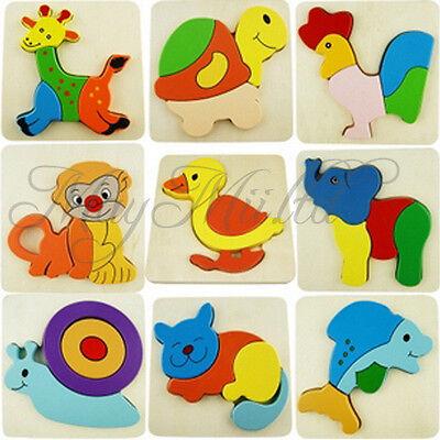 Wooden Blocks Kid Child Cartoon Animal Design Puzzle Game Educational Toy