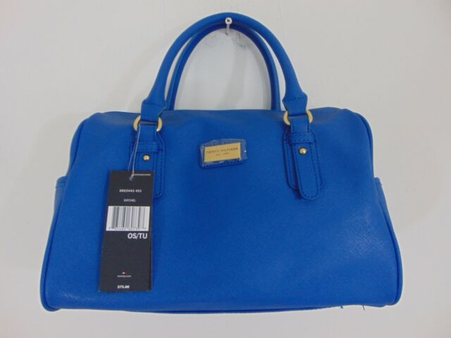 AUTHENTIC NWT TOMMY HILFIGER SAFFIANO BOSTON BLUE HANDBAG        (A0432)