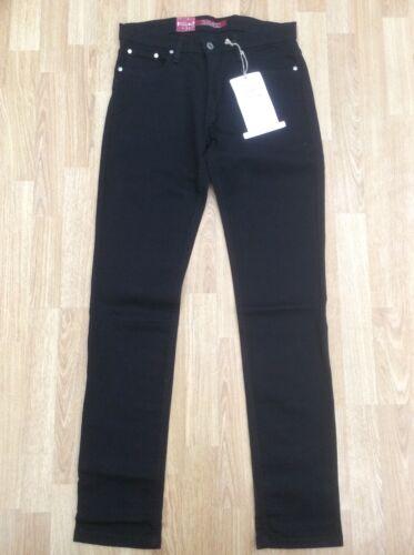 Da Uomo Relco Slim Fit Jeans Stretch Denim Nero Cerniera Taglia W32 L33