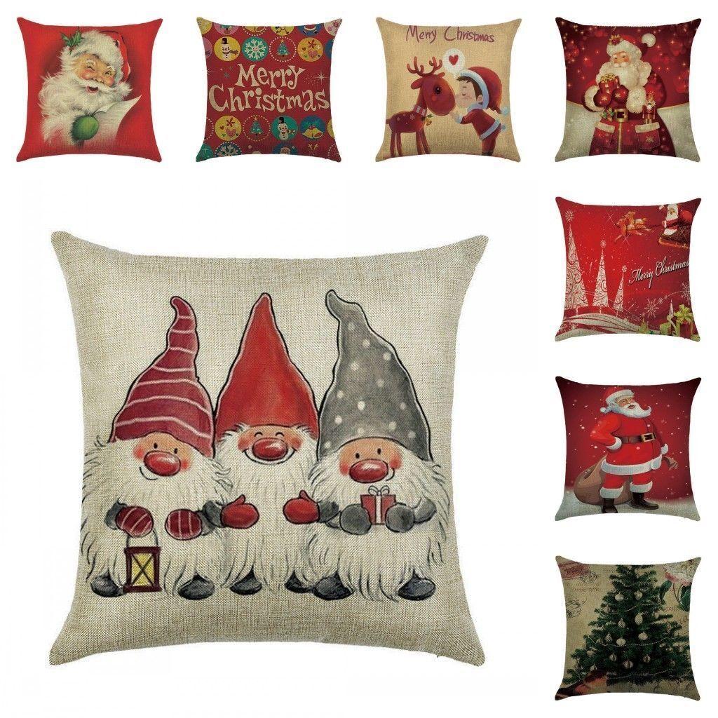 christmas pillow case santa cotton linen sofa