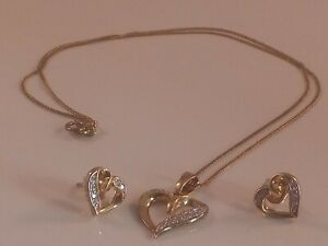 Gold-on-Silver-Guilt-Stamped-925-Heart-Shaped-With-CZ-stones-Necklace-amp-Earrings