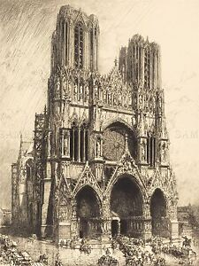 LEPERE-FRENCH-REIMS-CATHEDRAL-OLD-ART-PAINTING-POSTER-PRINT-BB4885A