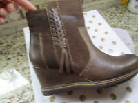 Kalso Earth Hilltopper Brown Leather Mid Boots Womens 6 Wedge Heel Free Ship