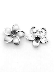 7MM SOLID 14K WHITE GOLD DC MATTE PETITE HAWAIIAN PLUMERIA FLOWER STUD EARRINGS