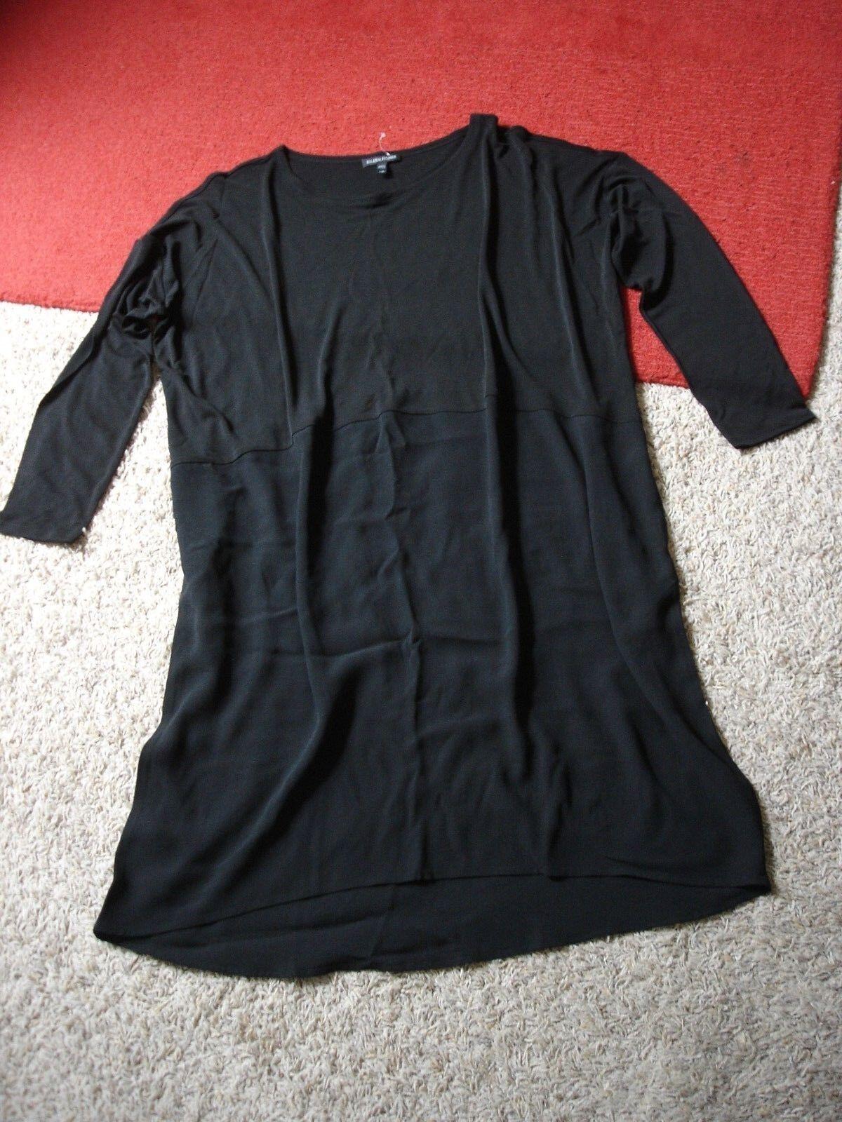 NEW  EILEEN FISHER Silk Jersey Overlay Dress schwarz Dropped Shoulder Größe S