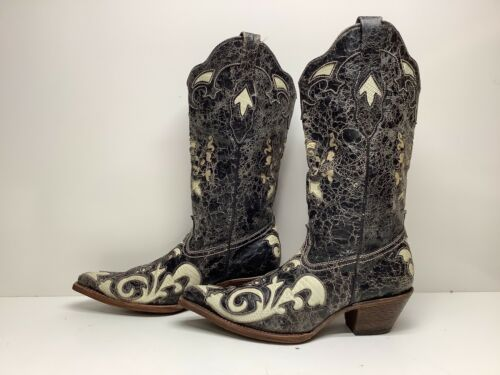 VTG WOMENS CORRAL SNIP TOE COWBOY BLACK/WHITE BOOT