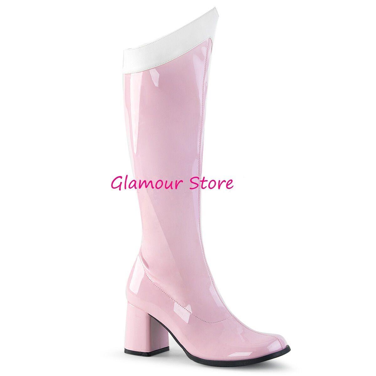 Sexy STIVALI tacco 7,5 ROSA/BIANCO dal 35 al 41 zip scarpe COSPLAY glamour