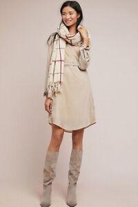 NWT-Anthropologie-Maeve-Ivory-Neutral-Velvet-Shirtdress-Dress-0