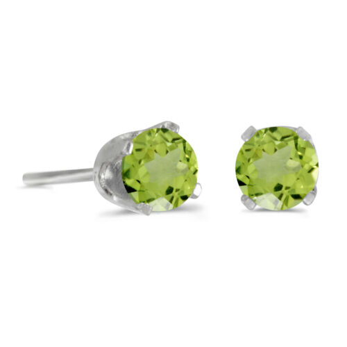 Sterling Silver Round Peridot Boucles d/'oreille