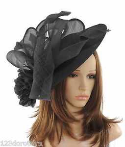 Weddings Proms Derby E2 Large Black//Cream Fascinator for Ascot