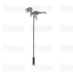 MENS' dinosaur LAPEL PIN  stick brooch RAPTOR tyrannosaurus t rex skeleton UK