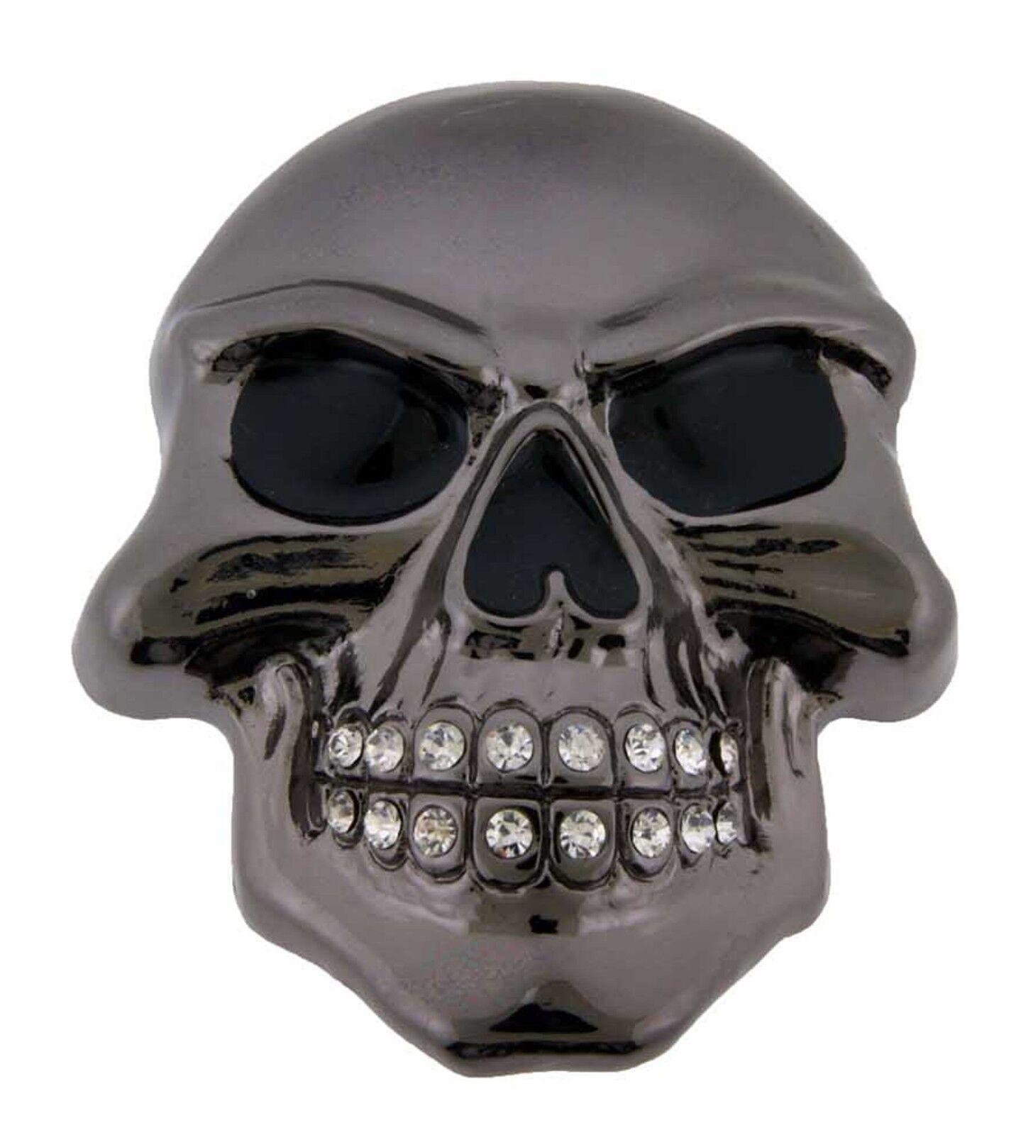 Herren Damen Totenkopf Gürtelschnalle Metallisch Gothic Tattoo Halloween Pirat
