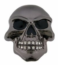 Mens Womens Skull Belt Buckle Skeleton Gun Metal Rhinestone Gothic Tribal Tattoo