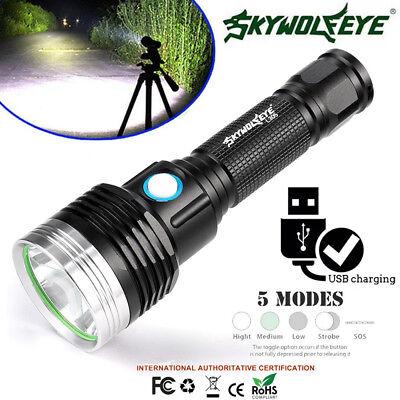 8000LM Waterproof Skywolfeye T6 Bulb Telescopic USB Torch Camping Flashlight DI