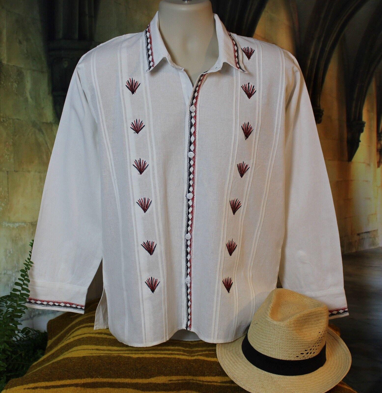 Men's Guayabera Latin American Shirt Camisa Agave Tequila Tlahuitoltepec Mexico