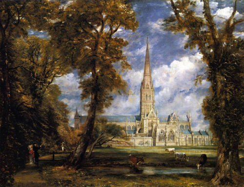 Salisbury Cathedral  by John Constable   Giclee Canvas Print Repro